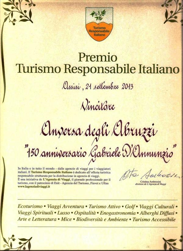 Premio Turismo Responsabile Italiano 2013 a Anversa degli Abruzzi